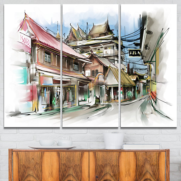 Designart City Street Illustration Art CityscapeStreet Art Canvas Print - 3 Panels