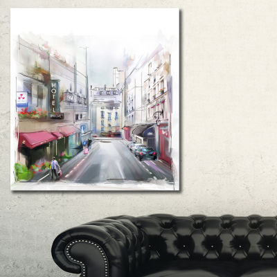 Designart City Street Illustration Cityscape Canvas Art Print - 3 Panels