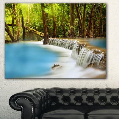 Designart Clam Huai Mae Kamin Waterfall LandscapeArt Print Canvas - 3 Panels