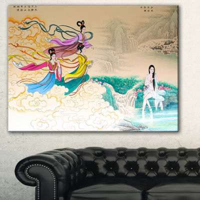 Designart Classical Chinese Painting Abstract Canvas Art Print - 3 Panels