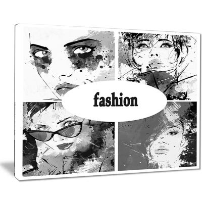 Designart Collage Of Girl Faces Abstract PortraitCanvas Print