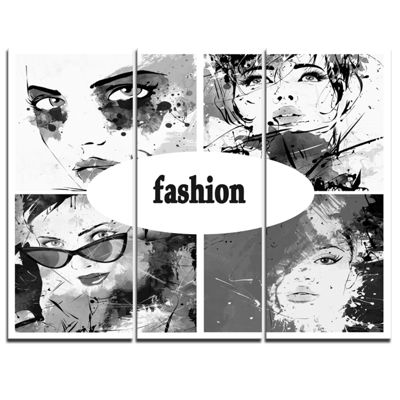 Designart Collage Of Girl Faces Abstract PortraitCanvas Print - 3 Panels