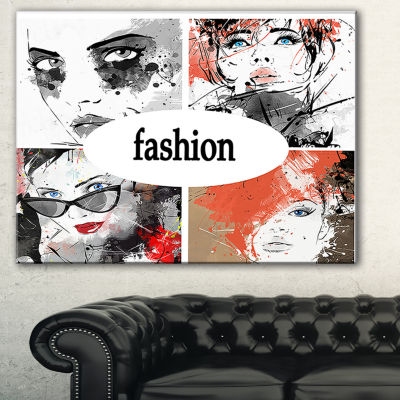 Designart Collage Of Girls Abstract Portrait Canvas Print - 3 Panels