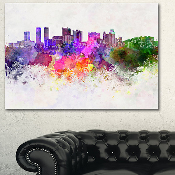 Designart Colombo Skyline Cityscape Canvas ArtworkPrint - 3 Panels