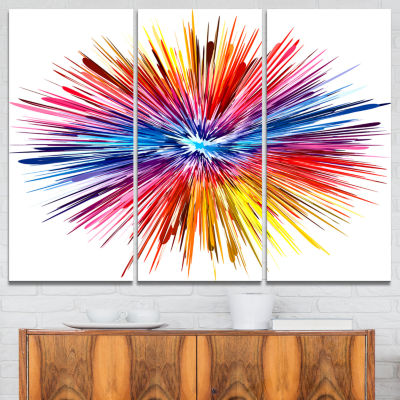 Design Art Color Explosion Abstract Canvas Artwork- 3 Panels