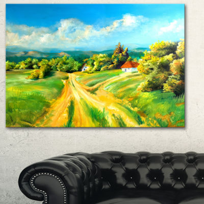 Designart Color Of Summer Landscape Art Print Canvas - 3 Panels