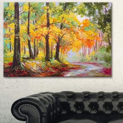 Designart Colorful Autumn Forest Landscape Art Print Canvas - 3 Panels