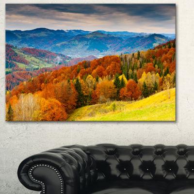 Designart Colorful Autumn Valley Landscape Photography Canvas Print - 3 Panels