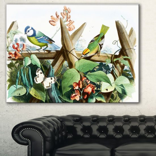 Designart Colorful Birds Sitting On Branches Animal Art On Canvas