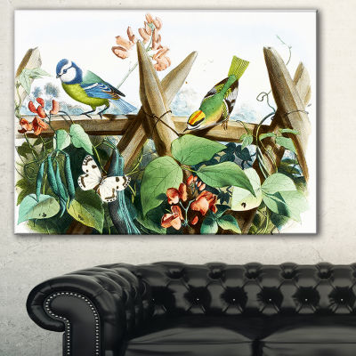 Designart Colorful Birds Sitting On Branches Animal Art On Canvas - 3 Panels