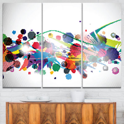 Designart Colorful Circles And Shapes Large Abstract Art - 3 Panels