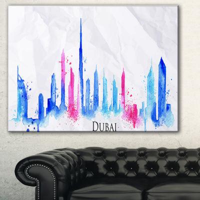 Designart Colorful Dubai Silhouette Cityscape Painting Canvas Print - 3 Panels