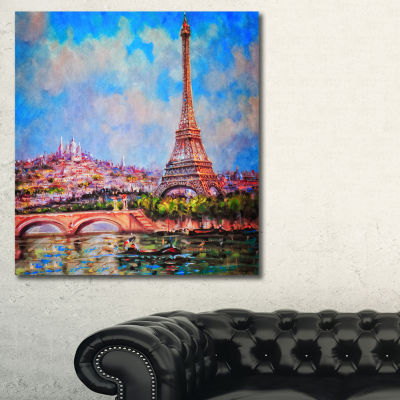 Designart Colorful Eiffel And Sacre Coeur Photography Canvas Art Print - 3 Panels