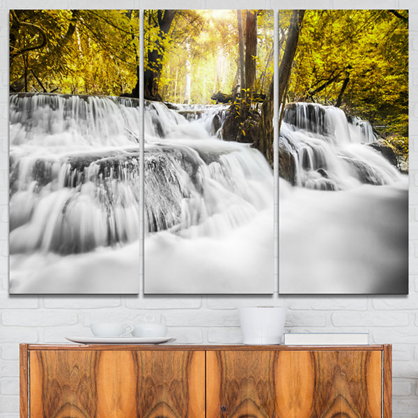 Designart Colorful Erawan Waterfall Landscape Photography Canvas Print - 3 Panels