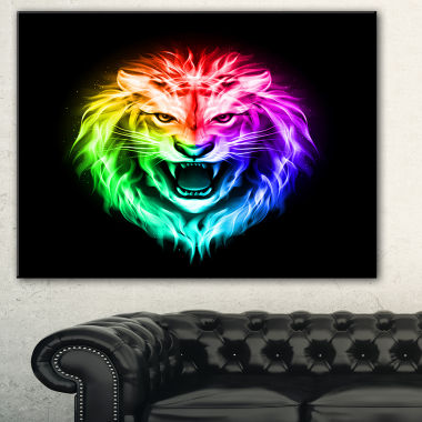 Designart Colorful Fire Lion Animal Canvas Art Print