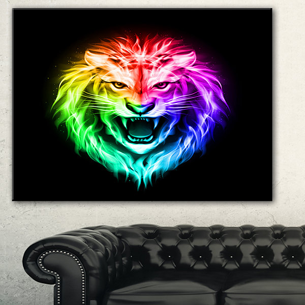 Designart Colorful Fire Lion Animal Canvas Art Print - 3 Panels