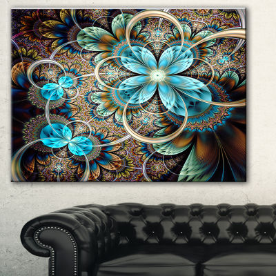 Designart Colorful Fractal Flowers With Blue ShadeAbstract Print On Canvas - 3 Panels