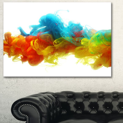 Designart Colorful Ink In Water Abstract Canvas Artwork - 3 Panels