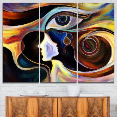 Designart Colorful Intuition Abstract Canvas Print- 3 Panels