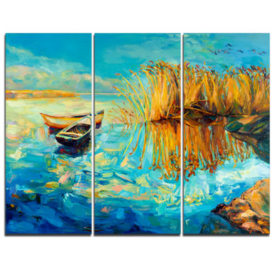 Designart Colorful Lake With Boats Seascape CanvasArt Print - 3 Panels