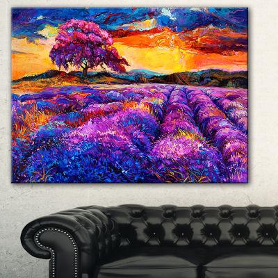 Designart Colorful Lavender Fields Photography Canvas Art Print - 3 Panels