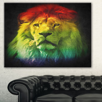 Designart Colorful Lion Head Animal Canvas Art Print - 3 Panels