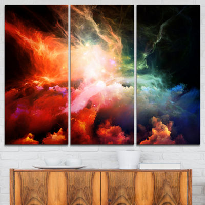 Designart Colorful Nebulae Contemporary Artwork -3Panels
