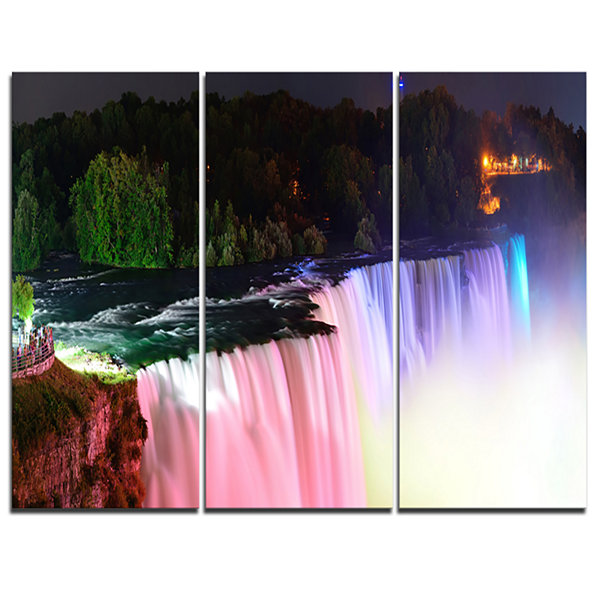 Designart Colorful Niagara Falls Panorama AbstractPrint On Canvas - 3 Panels