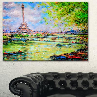 Designart Colorful Painting Of Eiffel Landscape Art Print Canvas - 3 Panels