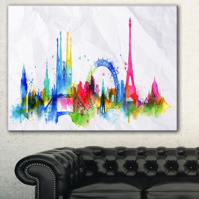 Designart Colorful Paris Silhouette Cityscape Painting Canvas Print - 3 Panels
