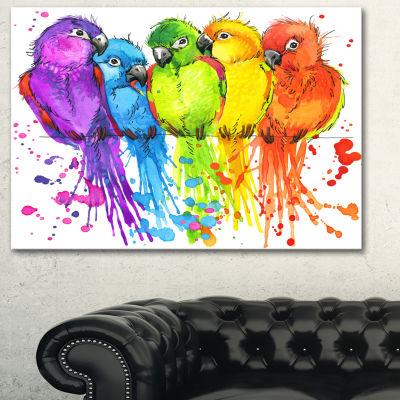 Designart Colorful Parrots Illustration Animal ArtPainting - 3 Panels