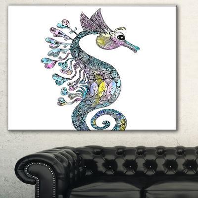 Designart Colorful Seahorse Watercolor Animal ArtCanvas Print - 3 Panels