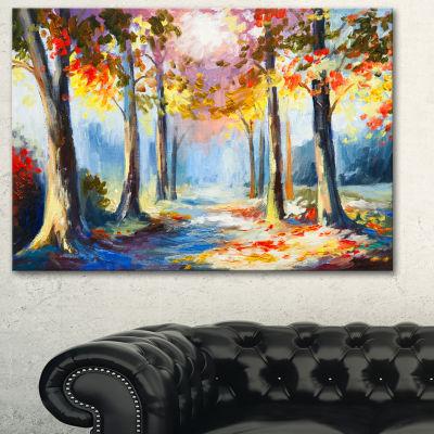Designart Colorful Spring Forest Landscape Art Print Canvas