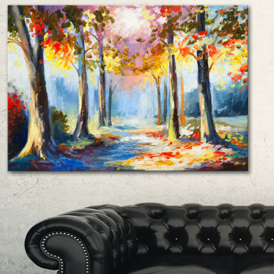 Designart Colorful Spring Forest Landscape Art Print Canvas - 3 Panels
