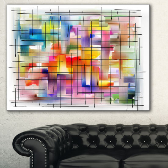 Designart Colorful Stain Design With Grid AbstractCanvaS Painting