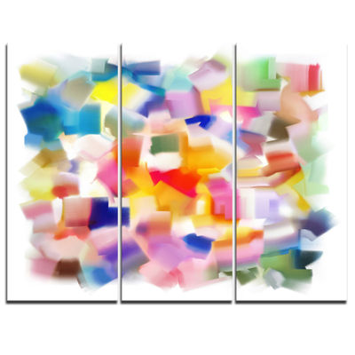 Designart Colorful Stain Design Without Grid Abstract Canvas Painting - 3 Panels
