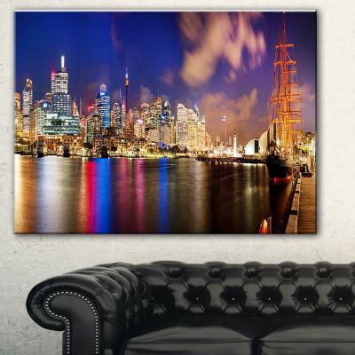 Designart Colorful Sydney Skyline Cityscape Photography Canvas Print - 3 Panels