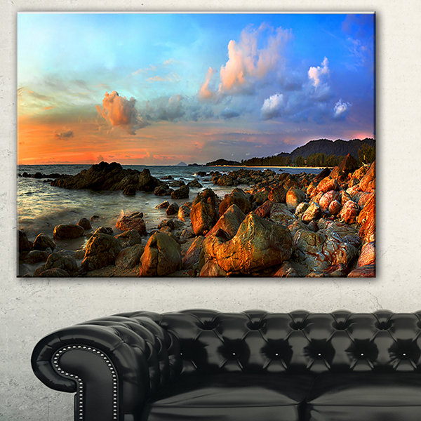 Designart Colorful Tropical Sunset Photography Canvas Art Print - 3 Panels