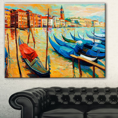 Designart Colorful Venice Landscape Painting Canvas Print - 3 Panels