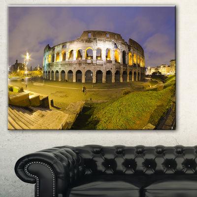Designart Colosseum By Night Landscape MonumentalCanvas Print - 3 Panels