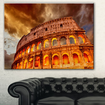 Designart Colosseum In Rome Landscape MonumentalCanvas Print - 3 Panels