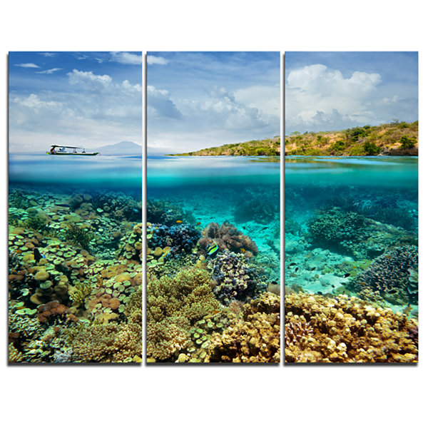 Designart Coral Reef Island Seascape Canvas Art Print - 3 Panels