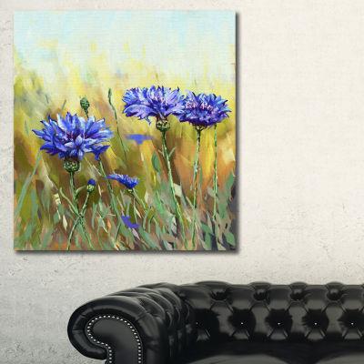Designart Cornflowers In Full Bloom Floral Art Canvas Print