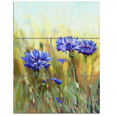 Designart Cornflowers In Full Bloom Floral Art Canvas Print - 3 Panels