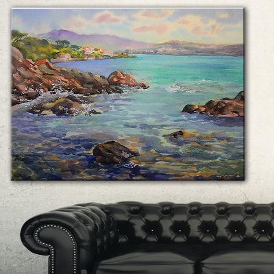 Designart Cote D Azur France Landscape Painting Canvas Print - 3 Panels