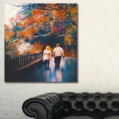 Designart Couple Walking Holding Hands LandscapeArt Print Canvas - 3 Panels