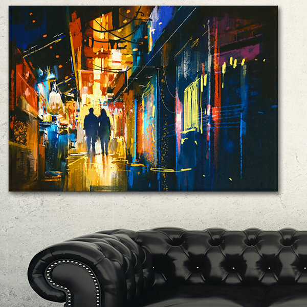 Designart Couple Walking In An Alley Cityscape Canvas Artwork - 3 Panels