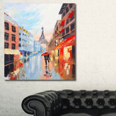Designart Couple Walking In Paris Sensual CanvasArt Print