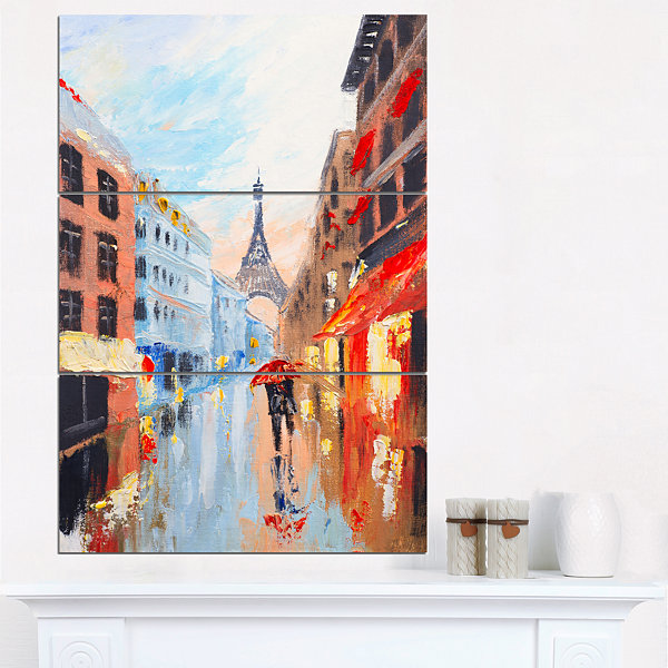 Designart Couple Walking In Paris Sensual CanvasArt Print - 3 Panels