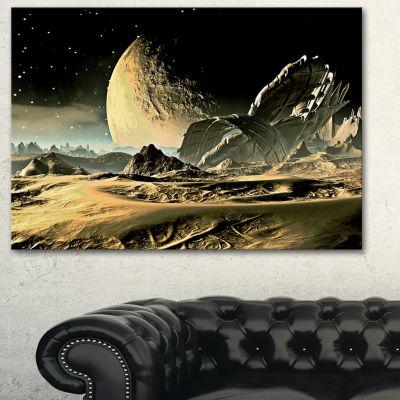Designart Crashed Spaceship Contemporary Canvas Art Print